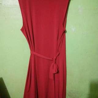 Red soft velvet dress