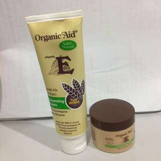 (Free postage)Organic Aid Vitamin E cleansing foam and moisrurizing cream