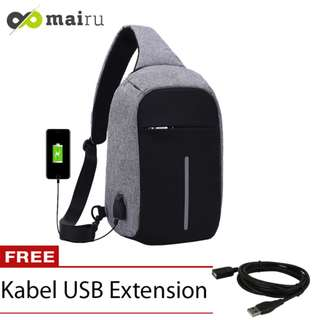 Tas Selempang Anti Maling USB Port XD Sling Bag - Grey