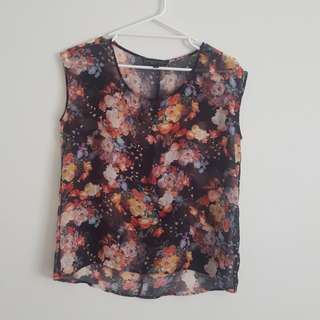 Topshop Petite Sheer Top with Flower Print