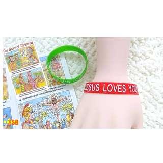 "🎄🌟⛄❄🎁❤[OneLSB.com] SVB01 ""Jesus Loves You"" Bracelet + Christmas Story Tract Set"