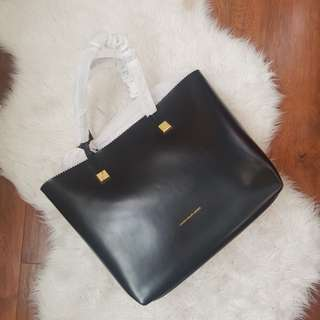 AUTHENTIC Ralph Lauren Leather Tote Bag with ZigZag Trim