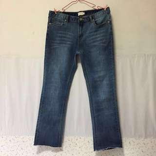 Pazzo刷色抽鬚彈性牛仔褲(深藍)L號