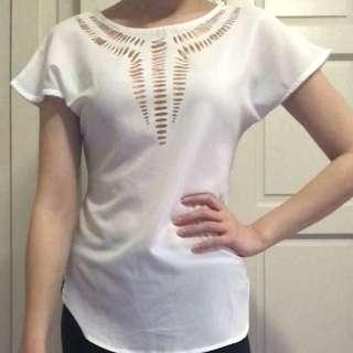 White Chiffon Cut-Out Shirt