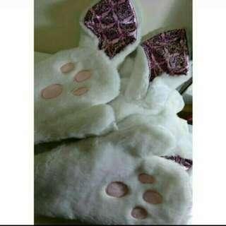 🚚 兔兔造型暖暖連帽手套