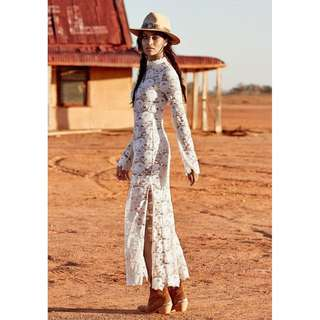 Spell and the Gypsy Rosamond Maxi Dress Lace White with Slip XS