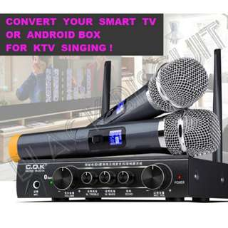 UHF Wireless Microphone Mixer Karaoke System Receiver w Bluetooth Support