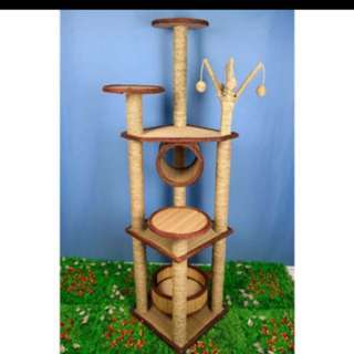 (NEW!)$140 tall sisal cat tree house scratch pole bed