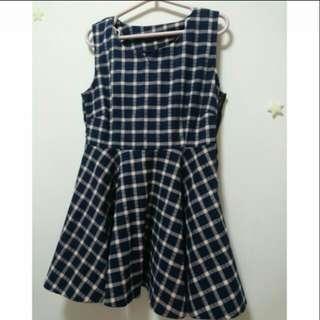 🚚 🎉藍色格紋可愛連身裙👗