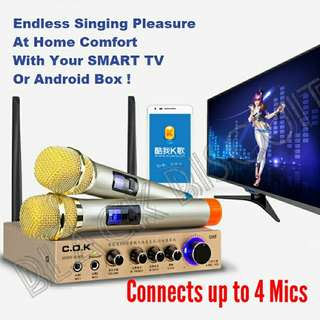 KTV Wireless Microphones System Connect Up To 4 Mics
