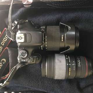 Cannon 550D with 18-135 kit lens and 70-300 sigma lens