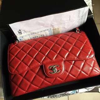 Chanel Classic Red Caviar SHW