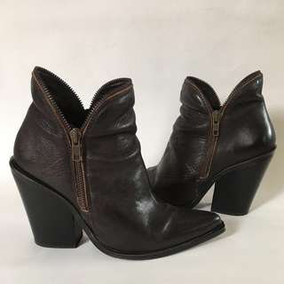 Jeffrey Campbell Leather Brown Western Ankle Boots Sz 8-8.5