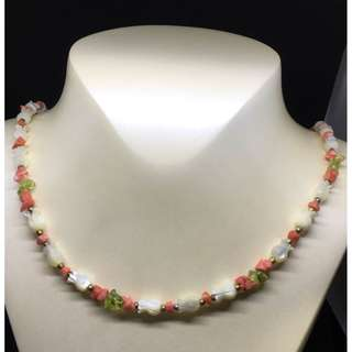 Dainty Carved  Mother of Pearl and coral necklace..Vintage