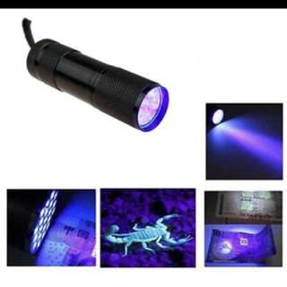 Mini 9LED UV Flashlight Ultraviolet led flashlight Ultra Violet Invisible Ink Marker Detection Torch Light 3AAA UV lamp