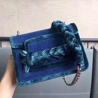 Miu Miu Tresse Denim and velvet bag