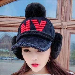 Minimei追加款✪韓系韓版歐美風英倫風百搭休閒可愛鴨舌帽秋冬毛絨保暖護耳棒球帽(帽子+暖暖耳罩)2件套