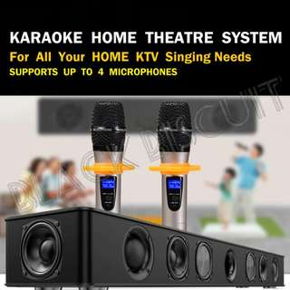 Powerful Karaoke SoundBar System With Wireless Microphone Built In Amplifier Home KTV System