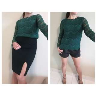 [New] Long Sleeves Lace Top #PBF80