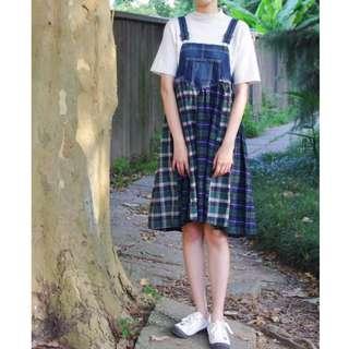 日本古著格紋牛仔拼接吊帶裙 美式鄉村風洋裝 森林系背心裙/下北澤/zipper