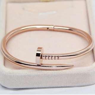 Cuff Nail Stainless Steel Bracelet Bangle Women Men rose gold silver