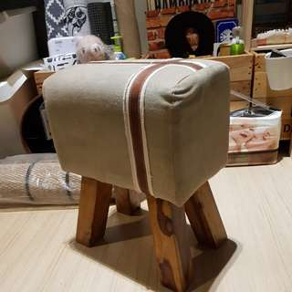 Vintage look stool chair with solid wood