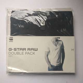 G-Star RAW Basics V-Neck T-Shirt Double Pack in Solid Black MEDIUM