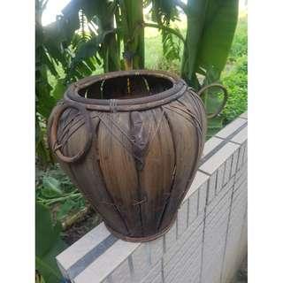 🚚 手工編制 竹編甕