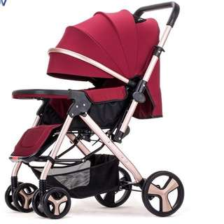 Baby strollers: cream and red