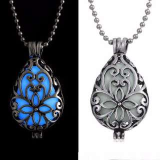 Glow In Dark Silver Hollow Glowing Stone Necklace