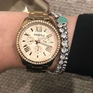 Fossil watch pink gold