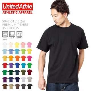 日本品牌T恤 United Athle 【UA5942】6.2磅 灰色素面/純色T恤/情侶T/短袖/長版/寬鬆