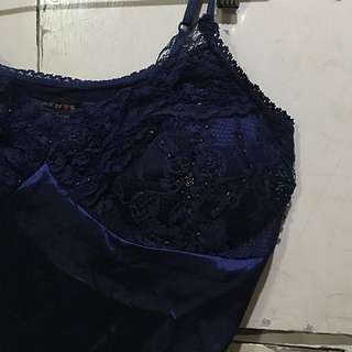 Sexy navy blue lace top