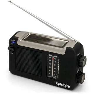 Wind Up, Solar, & USB Rechargeable Portable AM/FM Radio