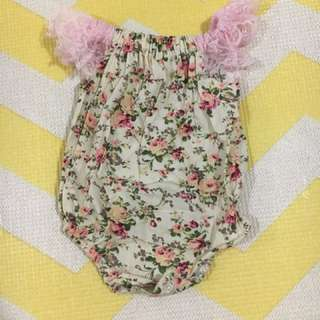 Floral sleeveless lace onesie/romper