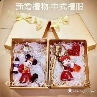 🚚 手工客製化皮繩鑰匙圈-米奇 米妮 情侶新婚禮物 新品