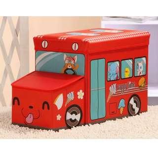 BUS DESIGN CHILDREN FOLDABLE TOY ORGANIZER STORAGE BOX