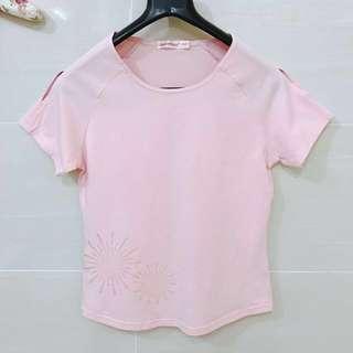Slit Shoulder Blouse - Pink