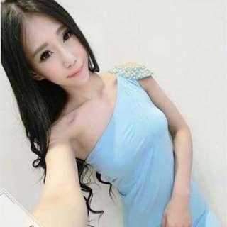 🚚 (全新)藍色水鑽彈性布禮服