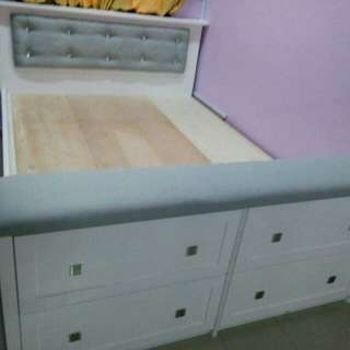 Double Size Bed Frame with Drawers