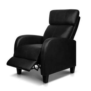 Recliner Chair Luxury Padded Reclining Lounge Armchair PU Leather