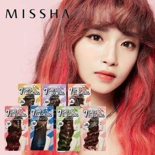 Missha 7 days Hair Coloring (Pink Brown, Gold,Green)