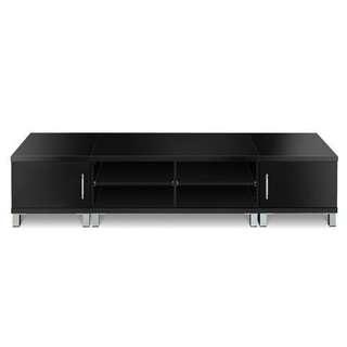 Wooden TV Stand Entertainment Unit Plasma LCD LED Black 190cm