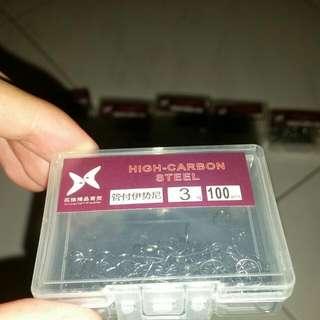 High Carbon Steel Fish Hooks (100pcs), Size 3