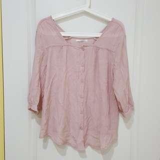 韓製柔美乾燥玫瑰粉色棉麻上衣