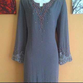 Baju Kurung Moden - Grey with Beads