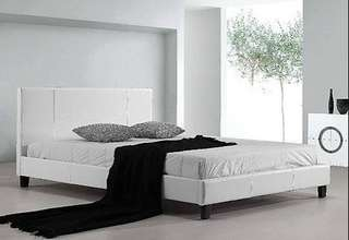 Queen Bed Frame White PU Leather brand new