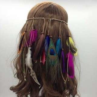 Bohemian Earrings And Garterized Feather Headdress