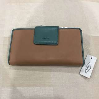 Fossil Women Slim Leather Wallet Purse Brown Green