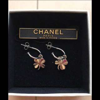 Chanel Silver Clover Earings